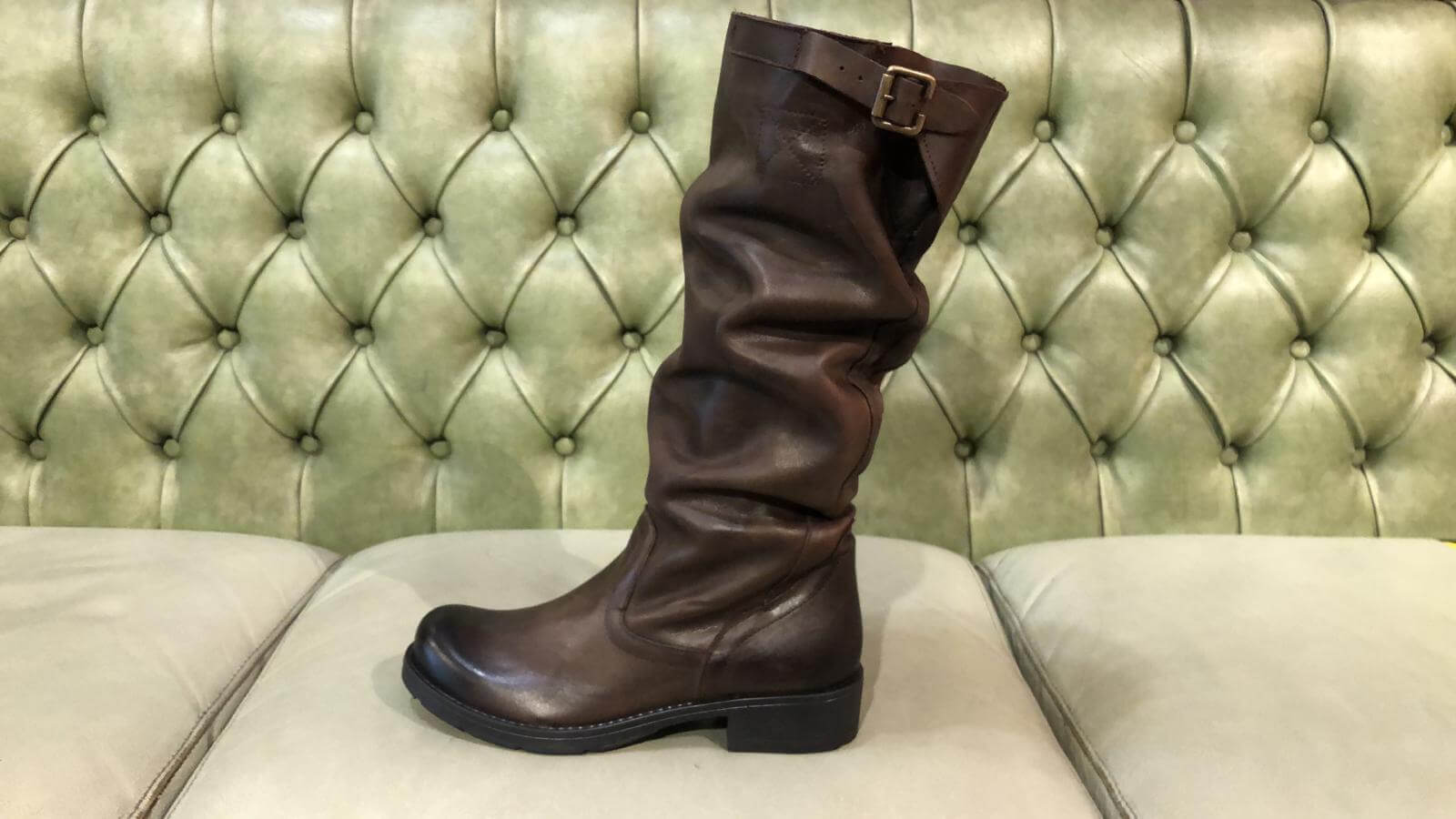 Browm slouch boots below the knee