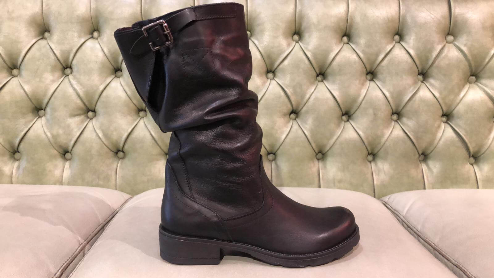 Black boots low heel slouch leg