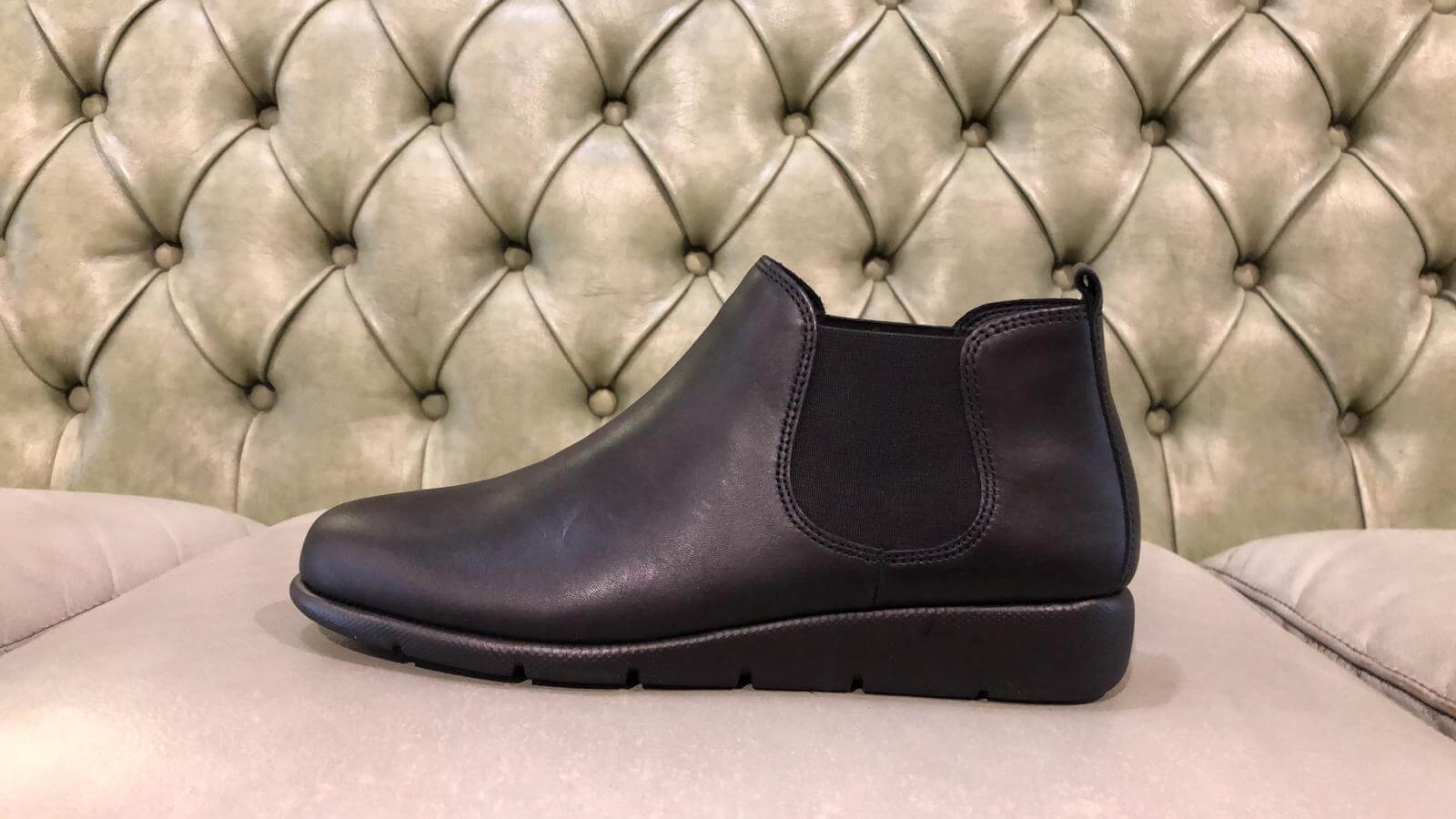 Black leather soft chelsea boots