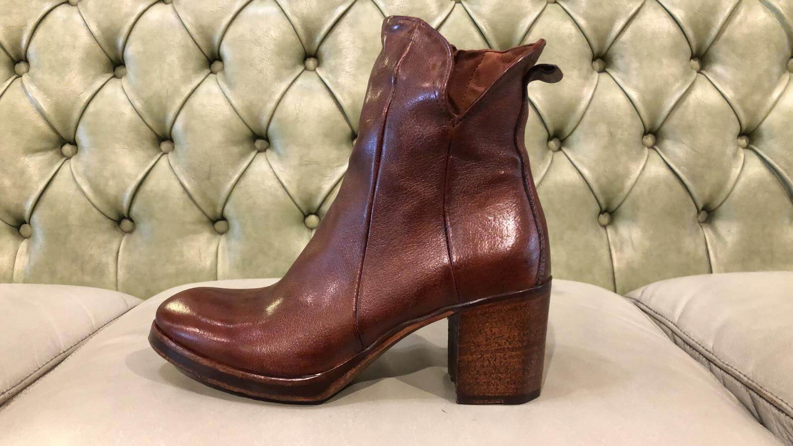 brown ankle boots with high heel