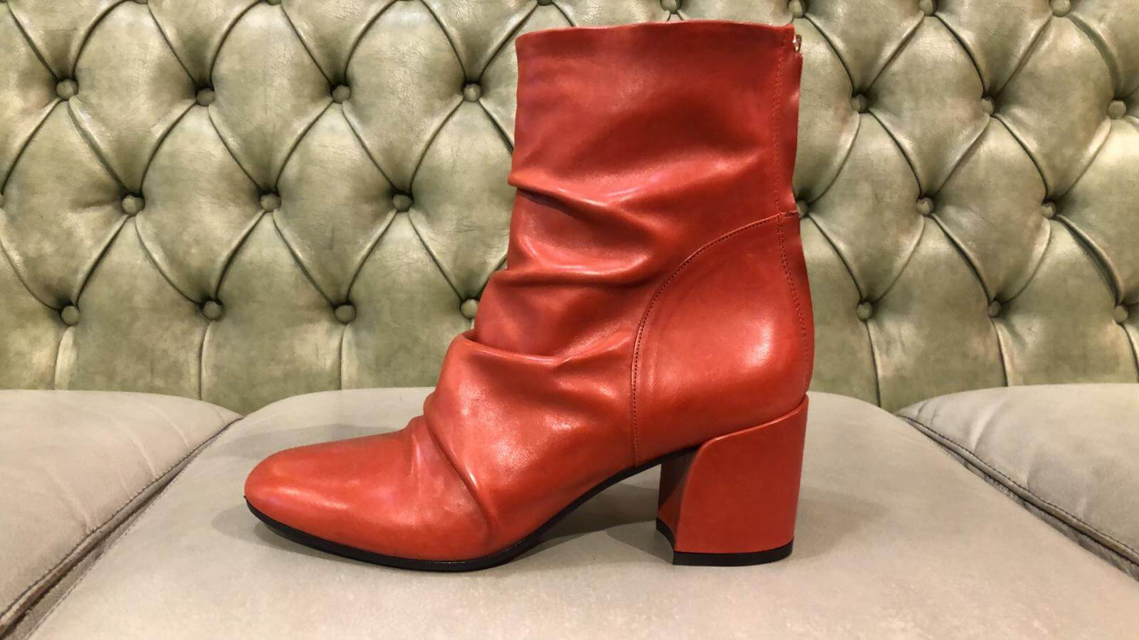 Red leather boots made in Italy