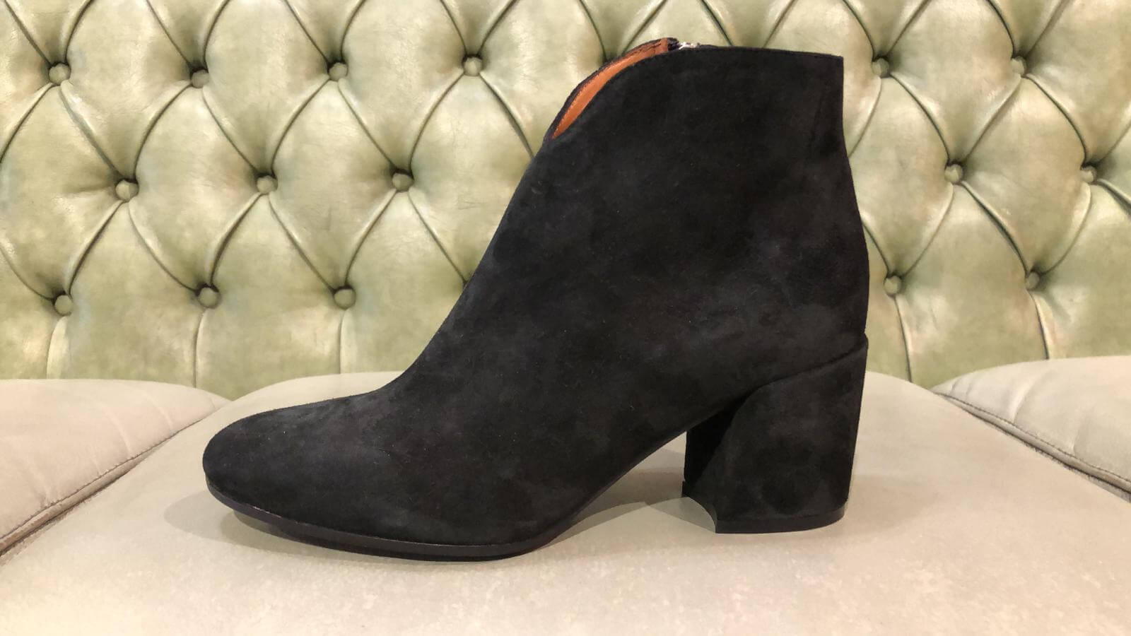 Black suede ankle boots made in Italy, elegant