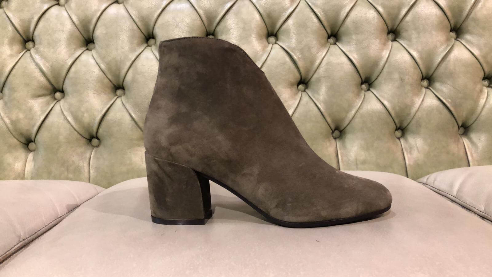 Green suede leather ankle boots with mid heel