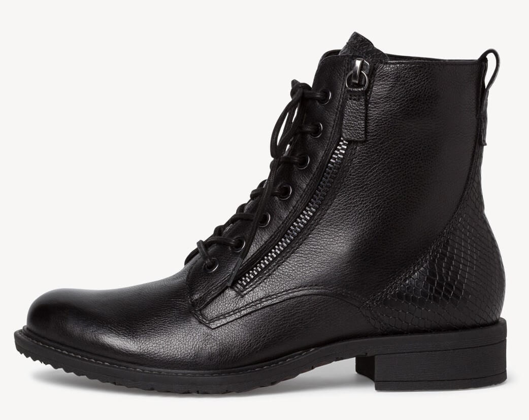 Black lace up boots with zipper